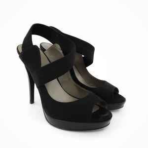 Levity | Black Faux Suede Peep Toe Heels 8